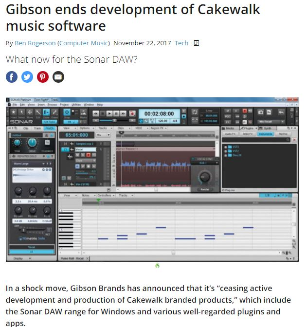 Cakewalk program no longer supported